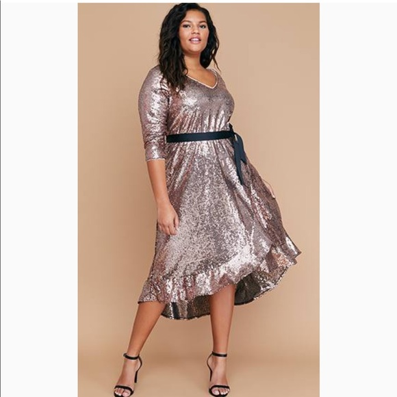 dc1ff9483c3 Lane Bryant Dresses   Skirts - Lane Bryant Rose Gold Sequin Faux Wrap Midi  Dress